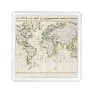 World's magnetic declination acrylic tray