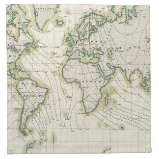 World's magnetic declination napkin