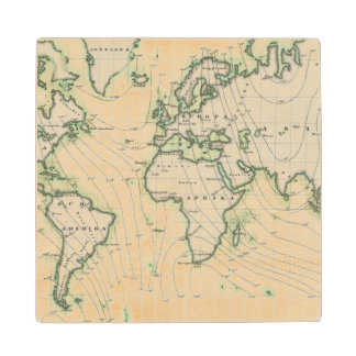 World's magnetic declination wood coaster