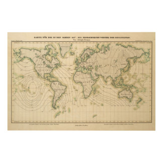 World's magnetic declination wood wall art