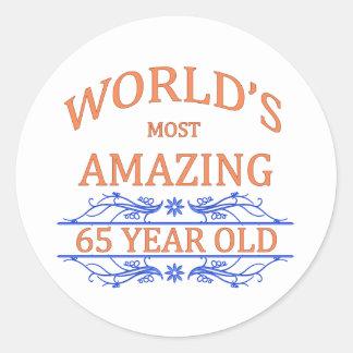 World's Most Amazing 65 Year Old Round Sticker