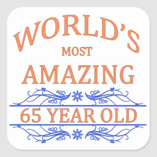 World's Most Amazing 65 Year Old Square Sticker