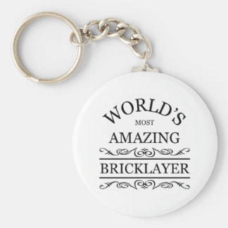 World's most amazing Bricklayer Basic Round Button Key Ring