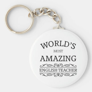 World's most amazing english teacher basic round button key ring