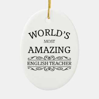 World's most amazing english teacher christmas ornament