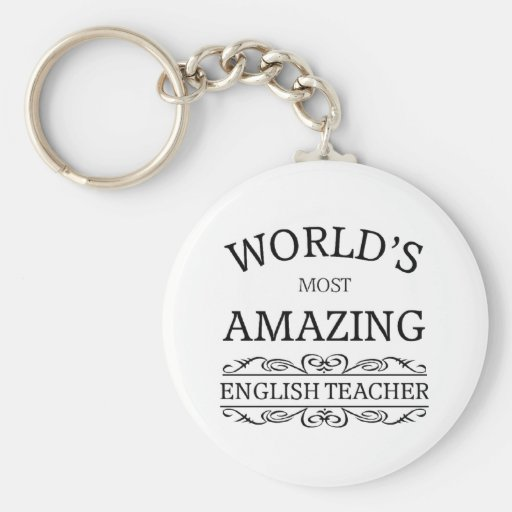 World's most amazing english teacher keychain