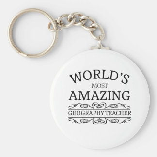 World's most amazing geography teacher basic round button key ring