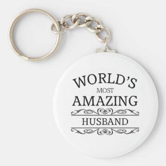 World's most amazing husband basic round button key ring