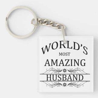 World's Most Amazing Husband Single-Sided Square Acrylic Key Ring