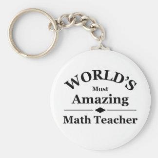 World's most amazing Math Teacher Basic Round Button Key Ring