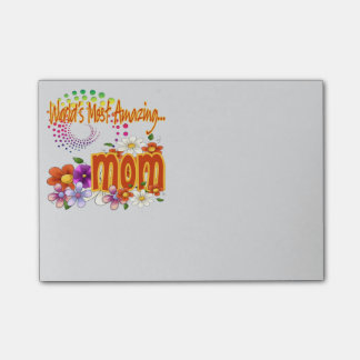 World's Most Amazing Mom Floral Post-it Notes