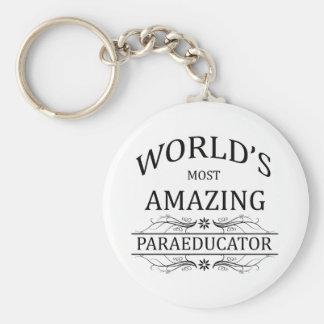 World's Most Amazing Paraeducator Basic Round Button Key Ring
