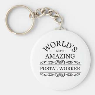 World's most amazing Postal Worker Basic Round Button Key Ring