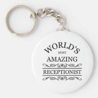 World's most amazing Receptionist Basic Round Button Key Ring
