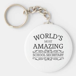 World's most amazing school secretary basic round button key ring