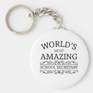 World's most amazing school secretary basic round button key ring