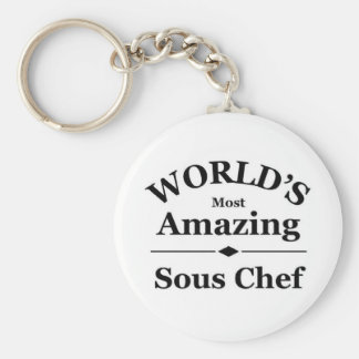 World's most amazing Sous Chef Basic Round Button Key Ring