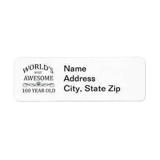 World's Most Awesome 100 Year Old Return Address Label