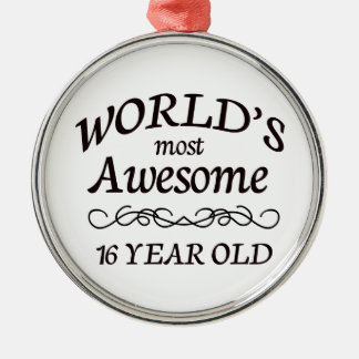 World's Most Awesome 16 Year old Silver-Colored Round Decoration