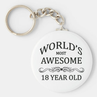 World's Most Awesome 18 Year Old Basic Round Button Key Ring