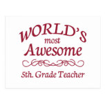 World's Most Awesome 5th. Grade Teacher Postcard