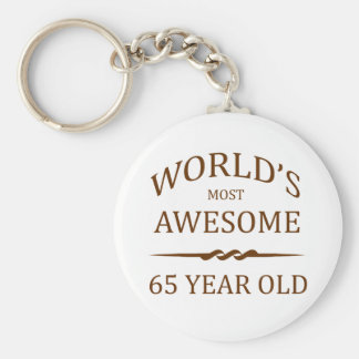 World's Most Awesome 65 Year Old Basic Round Button Key Ring