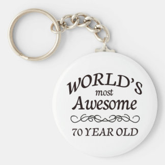 World's Most Awesome 70 Year Old Basic Round Button Key Ring