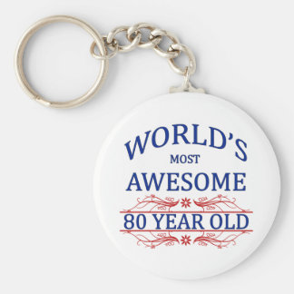 World's Most Awesome 80 Year Old Basic Round Button Key Ring