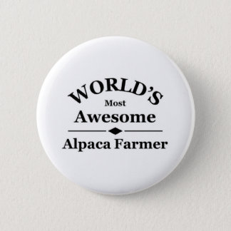 World's most awesome Alpaca Farmer 6 Cm Round Badge