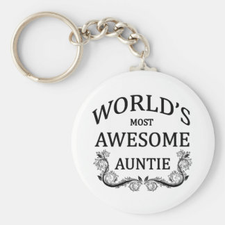 World's Most Awesome Auntie Basic Round Button Key Ring