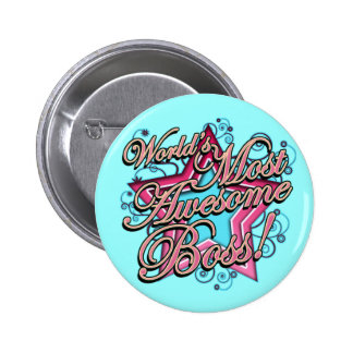 Worlds Most Awesome Boss 6 Cm Round Badge