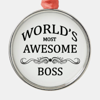 World's Most Awesome Boss Silver-Colored Round Decoration