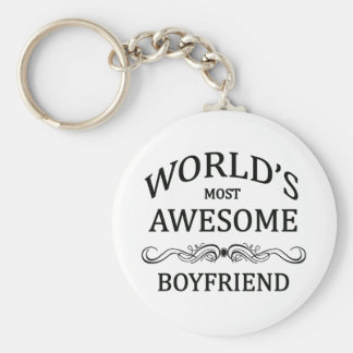 World's Most Awesome Boyfriend Basic Round Button Key Ring