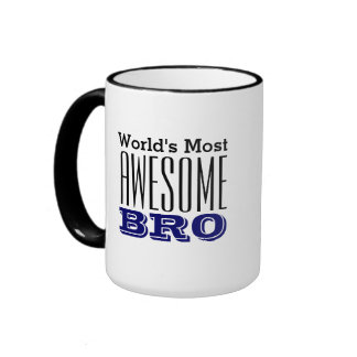 World's Most AWESOME BRO-Text Design Ringer Mug