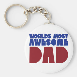Worlds most awesome Dad Basic Round Button Key Ring