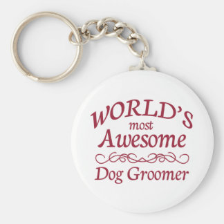 World's Most Awesome Dog Groomer Basic Round Button Key Ring