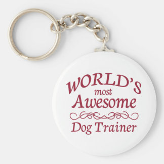 World's Most Awesome Dog Trainer Basic Round Button Key Ring