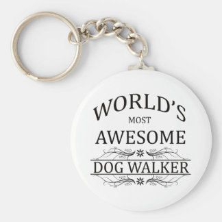 World's Most Awesome Dog Walker Basic Round Button Key Ring