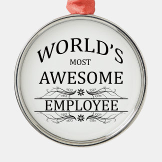 World's Most Awesome Employee Silver-Colored Round Decoration