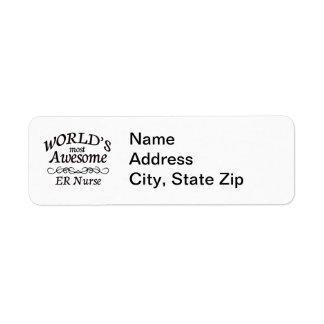 Worlds' Most Awesome ER Nurse Return Address Label