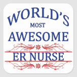World's Most Awesome ER Nurse Square Stickers