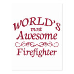 World's Most Awesome Firefighter Postcard
