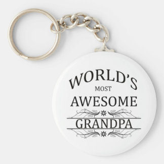 World's Most Awesome Grandpa Basic Round Button Key Ring