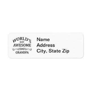 World's Most Awesome Grandpa Return Address Label