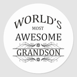 World's Most Awesome Grandson Classic Round Sticker