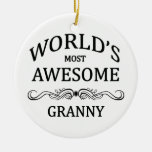 World's Most Awesome Granny Round Ceramic Decoration