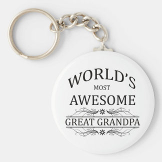World's Most Awesome Great Grandpa Basic Round Button Key Ring