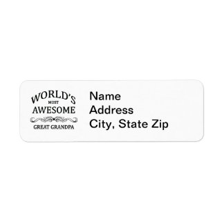 World's Most Awesome Great Grandpa Return Address Label