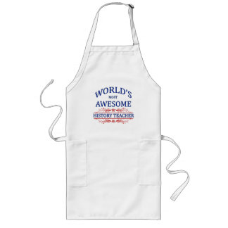 World's Most Awesome History Teacher Long Apron