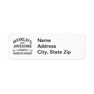 World's Most Awesome Hospice Nurse Return Address Label